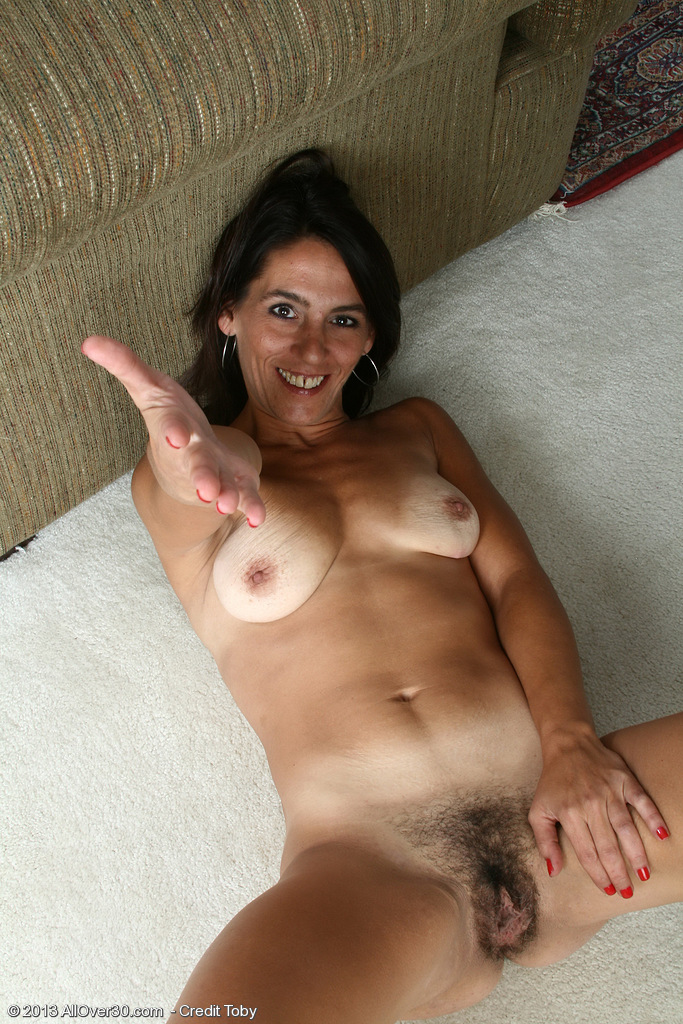standing hairy nude wife at home