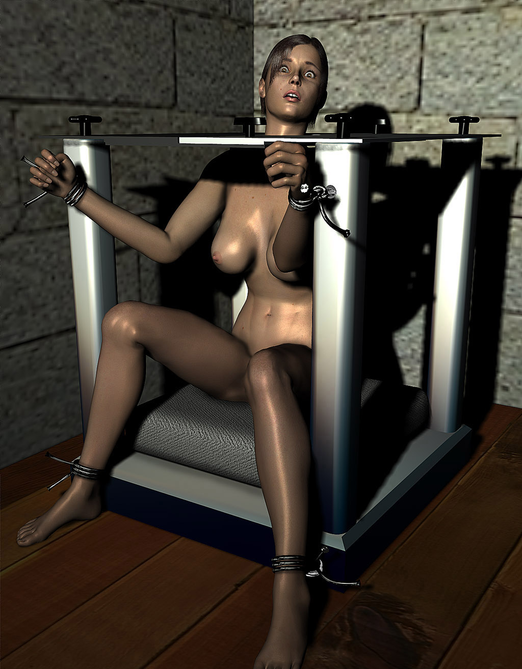 Self bondage suspension e-stim
