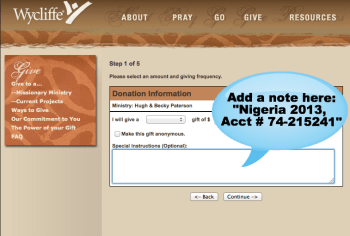 Image of Wycliffe donation page