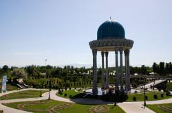 A pretty mausoleum as we leave Tashkent