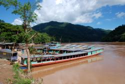Boats in Pakbeng waiting to hit the river