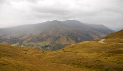 Looking down from the peak of the Crown Ranges