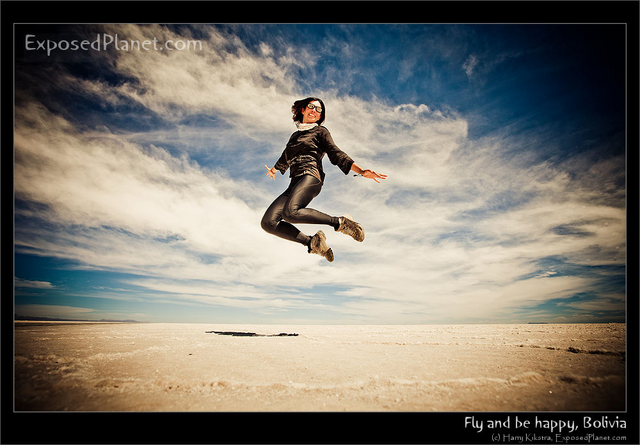 Ivana jumping in Salar de Uyuni