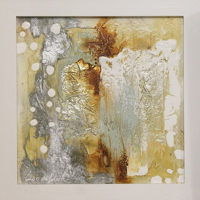 Leon De Klerk white silver and gold abstract
