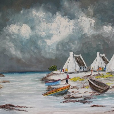 painting of fishermen's boats docked at their houses