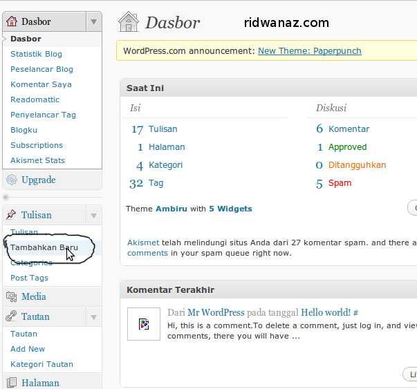 cara posting blog