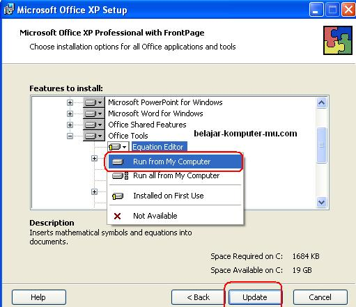 cara instal microsoft equation pada microsot word