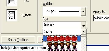 cara instal bingkai page border art microsoft word xp 2003