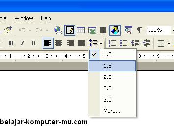 cara mengatur spasi baris pada microsft word xp 2003