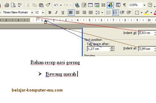 cara format bullet numbering microsoft word