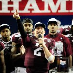 johnny football celebrates bowl win