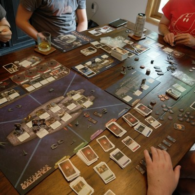 The Battlestar Galactica board game, plus various parts of various expansions