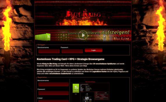Das neue Startseiten-Design von Blut Krieg
