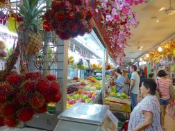 Colourful rambutans and other tropical fruit in the Singapore markets. Photo Helen Young
