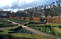 Parterre rose garden in early spring Kings Garden (Rosenborg Garden) in Copenhagen