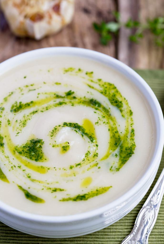 Roasted Garlic Cauliflower Soup with Truffle Oil recipe - light and ...