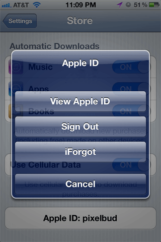 Sign Out of the Apple ID