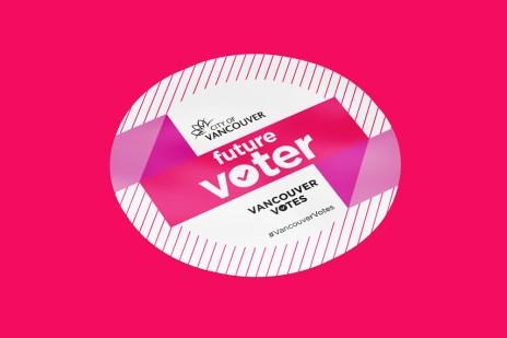 """Future Voter"" sticker give-aways."
