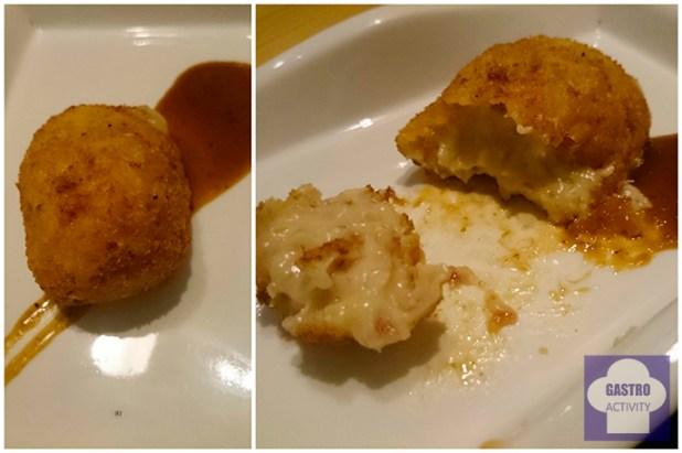 Croqueta de ibérico en restaurante asturiano Kuiru en Madrid