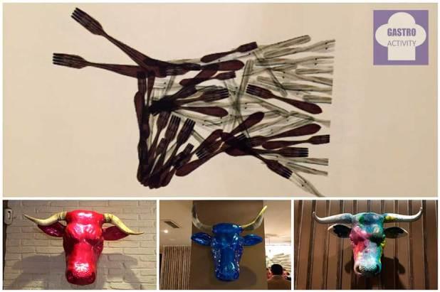 Vacas decorando el restaurante Pura Vaca