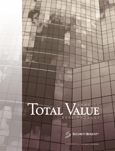 A snapshot of the Total Value Annuity base product brochure.