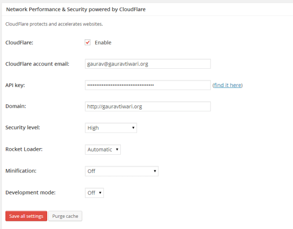 Cloudflare Settings in W3TC