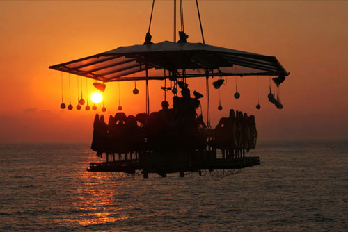 Hanging Restaurant By Sunset