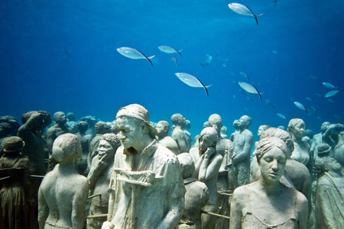 Cancun Underwater Museum Exhibits