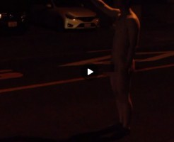 【Vine動画】運転手ヒヤヒヤ?ドキドキ!?素っ裸でヒッチハイクしてるやつがいるぞw
