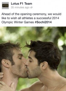 Lotus tweet in support of Olympic athletes in Sochi (subsequently deleted)