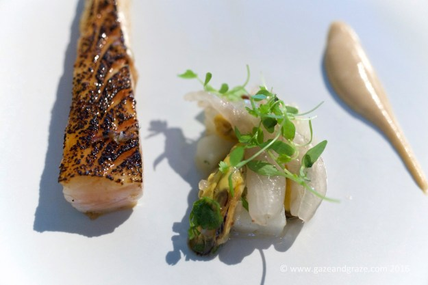 """Terre et Mer"" or Surf & Turf consisted of the best horse mackerel (on left) and a mussel tartare with cured lardo and a pork trotter sauce"