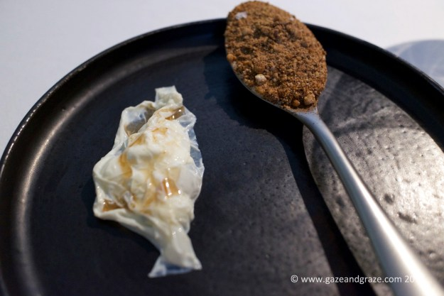 "Dessert #1: Porcini ""iced cream"", yuba (soy milk skin) and buttermilk curd"
