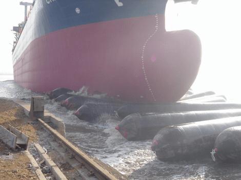 Ship Launching on Yokohama Fenders