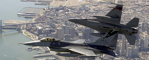 F-16 Flying over San Francisco