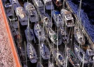 Yacht transport ship underway.