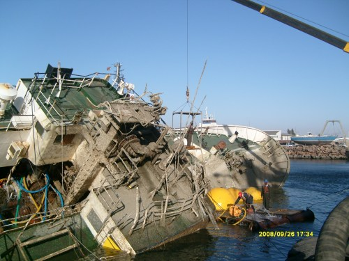 Salvage of Motor Vessel at Walvis Bay Namibia