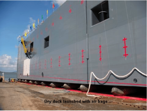 Dry dock launched with airbags