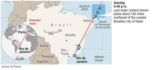 Air France Flight 447 - Flight Path