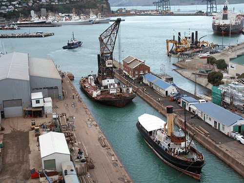 Drydock with crane barge