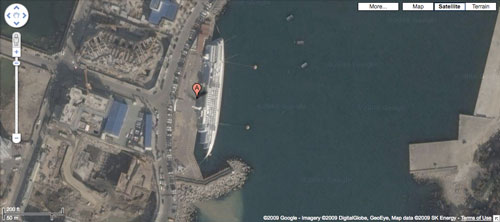 Sunken Cruise ship On Google Maps