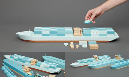 Toy Wooden Ships - Container Ship, LNG & Tanker