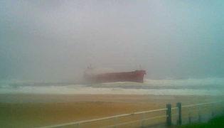 Ship Aground Near Newcastle
