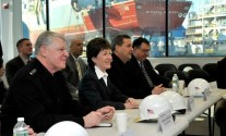 CNO Adm. Gary Roughead and Senator Susan Collins of Maine are briefed on recent Navy projects during a visit to Bath Iron Works.