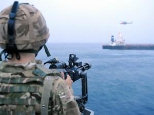 HMS Monmouth Royal Navy mini gun MV Caravos Horizon