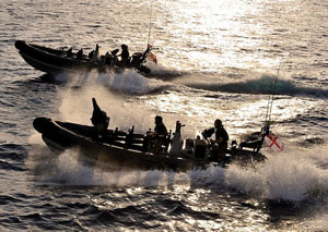 HMS Cornwall Royal Marines rhib inflatable boat special forces seals