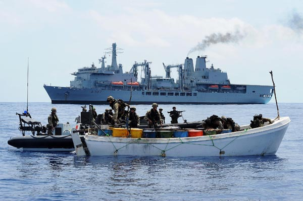 Boarding Team Skiff Whaler Pirates Counter-Piracy RFA Indian Ocean Fort Victoria Royal Navy Marines