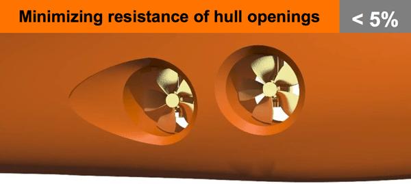 minimizing ship's resistance hull openings