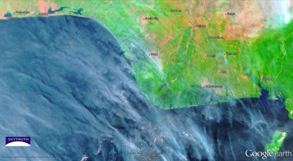 K.S. Endeavor jack up rig fire satellite photo