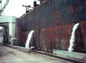 File photo. Ballast water discharge