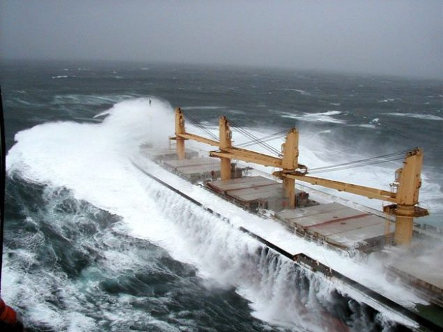bulk carrier heavy seas storm ocean waves